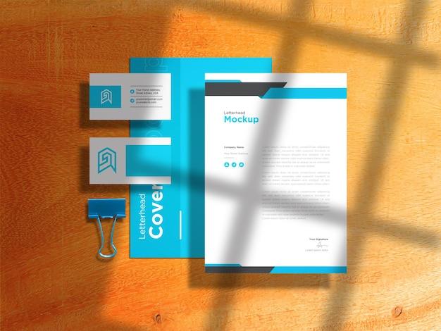 Papel timbrado com maquete de cartão de visita