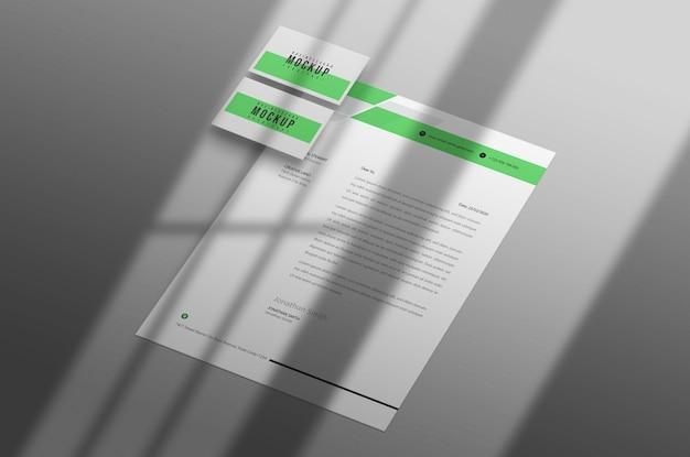 Papel timbrado com modelo de cartão de visita psd