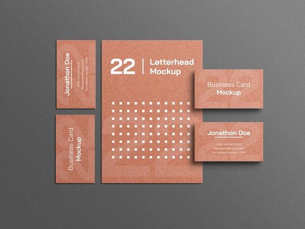 Papel timbrado de artesanato com maquete de papelaria de cartão de visita