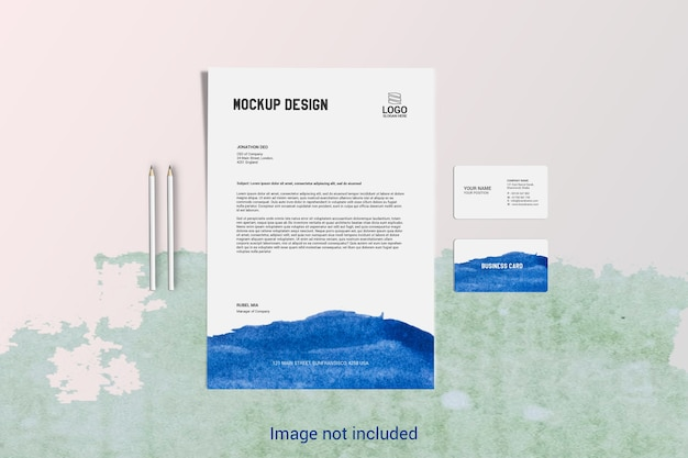 Papel timbrado de páginas a4 e modelo de cartão de visita