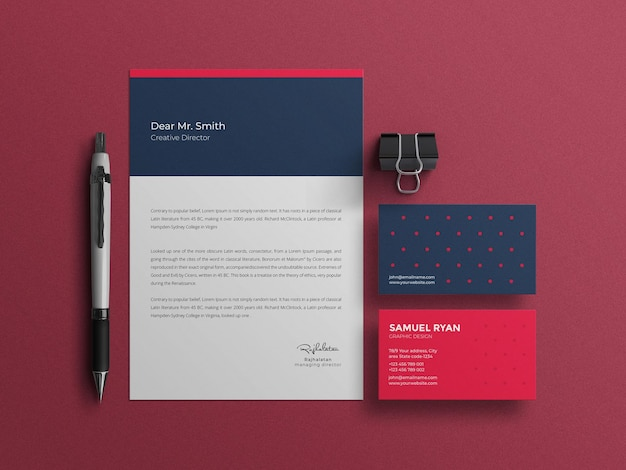 Papel timbrado elegante com maquete de papel de carta de cartão de visita