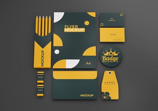 Papelaria empresarial mock up design da marca