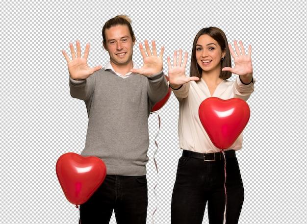Par, em, dia valentine, contar, dez, com, dedos