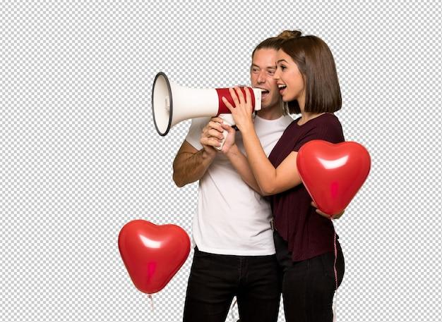 Par, em, dia valentine, shouting, através, um, megafone