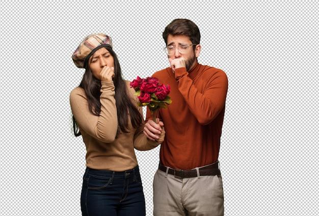 Par jovem, em, dia valentines, tosse, doente, devido, um, vírus, ou, infecção