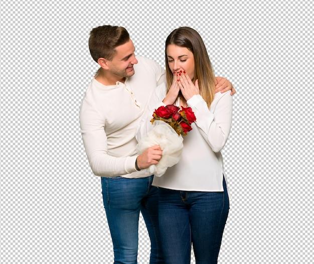 Par, valentine, dia, flores