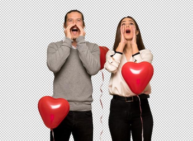 Par, valentine, dia, shouting, anunciando, algo