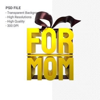 Para a mãe com arco e fita renderização 3d isolada