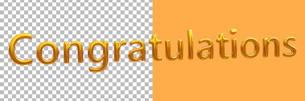 Parabéns ouro 3d renderizando imagens