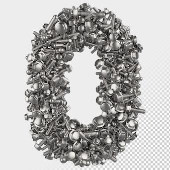Parafuso hexagonal isolado 3d render letra 0