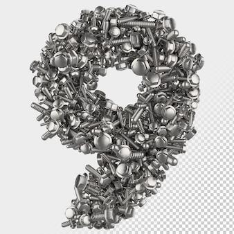 Parafuso hexagonal isolado 3d render, letra 9