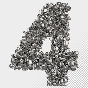 Parafuso sextavado isolado 3d render, letra 4