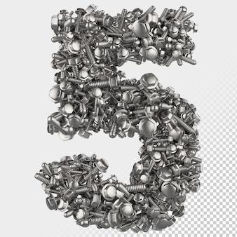 Parafuso sextavado isolado 3d render, letra 5