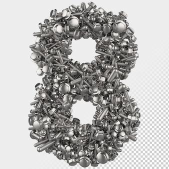 Parafuso sextavado isolado 3d render, letra 8
