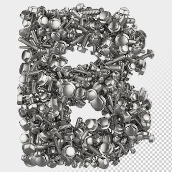 Parafuso sextavado isolado 3d renderiza a letra b