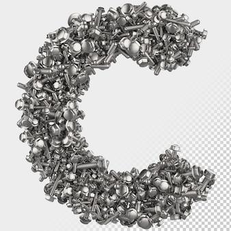 Parafuso sextavado isolado 3d renderiza a letra c