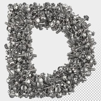 Parafuso sextavado isolado 3d renderiza a letra d