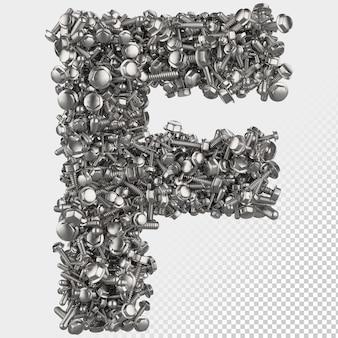 Parafuso sextavado isolado 3d renderiza a letra f