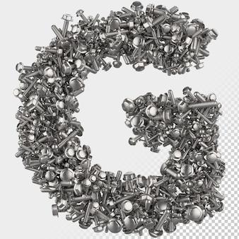 Parafuso sextavado isolado 3d renderiza a letra g