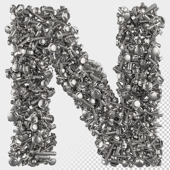 Parafuso sextavado isolado 3d renderiza a letra n