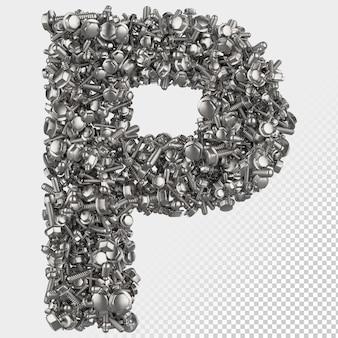 Parafuso sextavado isolado 3d renderiza a letra p