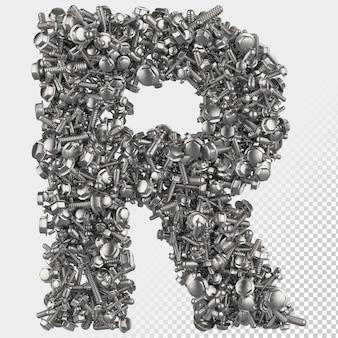 Parafuso sextavado isolado 3d renderiza a letra r