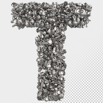 Parafuso sextavado isolado 3d renderiza a letra t
