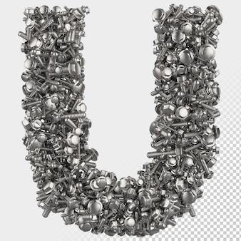 Parafuso sextavado isolado 3d renderiza a letra u