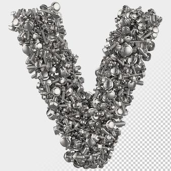 Parafuso sextavado isolado 3d renderiza a letra v