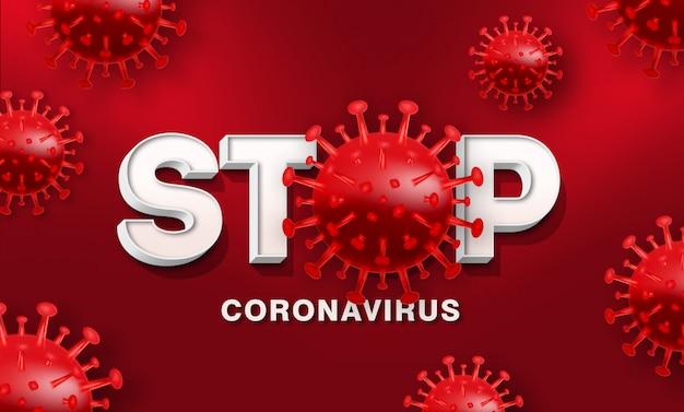 Parar o modelo de efeito de estilo de texto 3d do coronavirus