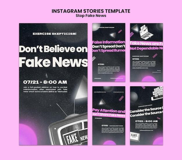Pare de notícias falsas, histórias de mídia social