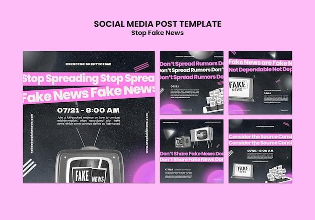 Pare de postagens de notícias falsas em mídia social