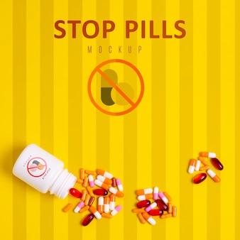 Pare o vício em comprimidos com maquete