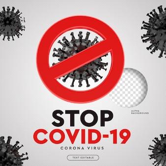 Pare o vírus corona 3d do símbolo covid-19