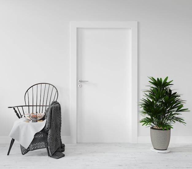 Parede com maquete de porta em branco