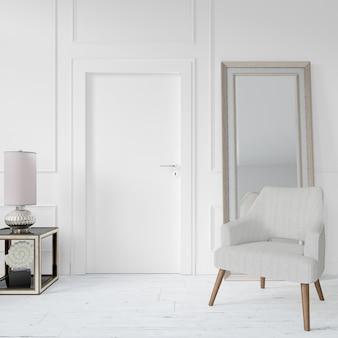 Parede com porta em branco e cadeira