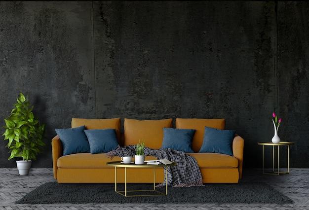 Parede de concreto de sala de estar com sofá preto na escuridão