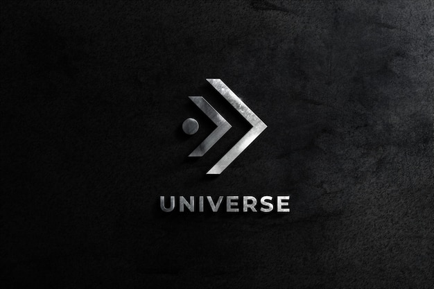 Parede de maquete de aço realista logotipo com fundo de textura balck
