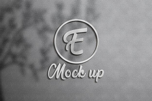 Parede de maquete de logotipo 3d