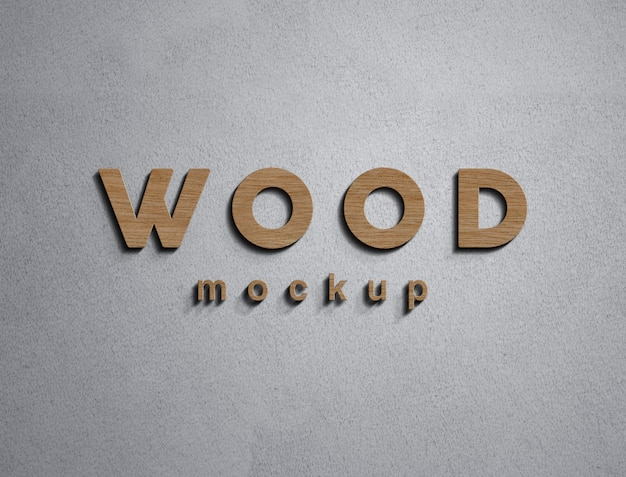Parede de maquete de logotipo de madeira