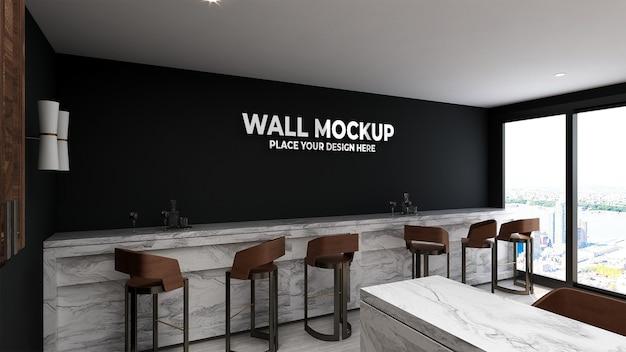 Parede de maquete em interior moderno e luxuoso de café
