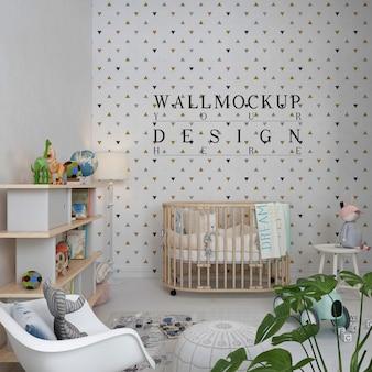 Parede de maquete em quarto de bebê clássico moderno com cadeira de balanço branca