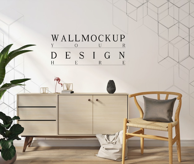 Parede de maquete na moderna sala de estar branca com poltrona