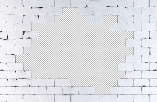 Parede de tijolos com um grande buraco isolado na ilustração 3d branca