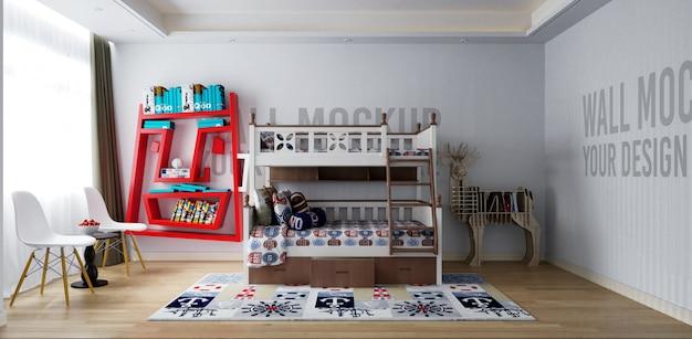 Parede interior do quarto das crianças com decorações