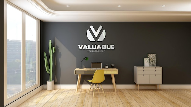 Parede maquete do logotipo da empresa na sala de trabalho em casa com mesa e escrivaninha