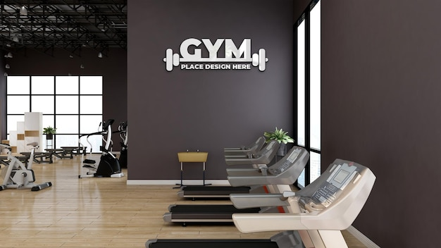 Parede maquete do logotipo de esportes na moderna sala de ginástica