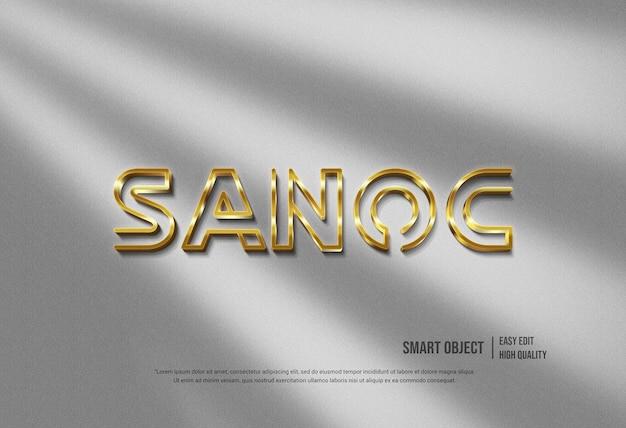 Parede moderna da maquete do logotipo do ouro 3d