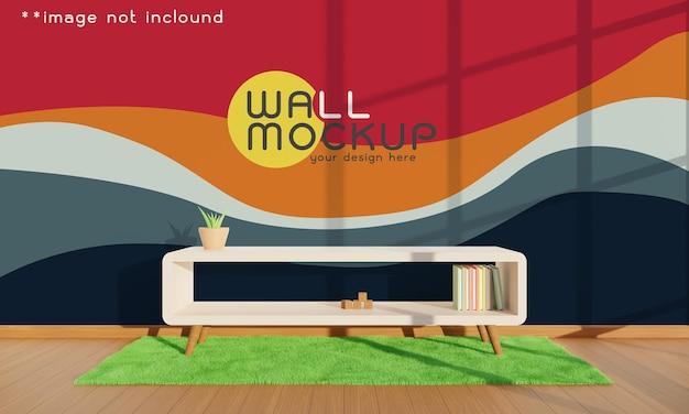 Parede vazia com móveis de interior na sala de estar. maquete de parede