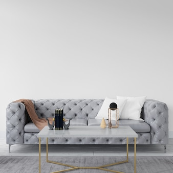 Parede vazia com sofá elegante